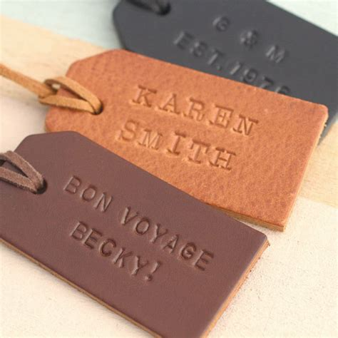 Leather Tag personalised handsted leather luggage tag by posh totty