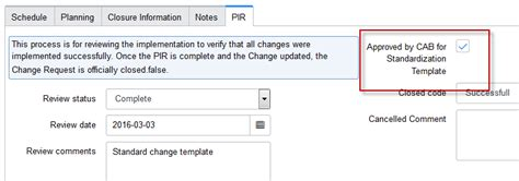 standard change template creating a standard change template