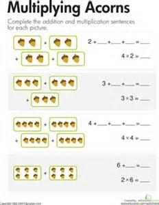 multiplication add amp multiply acorns worksheet