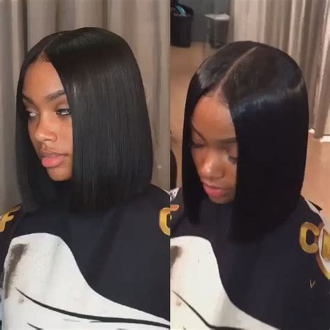 bob quick weave part in middle the hottest celebrity hair trend centre part bob