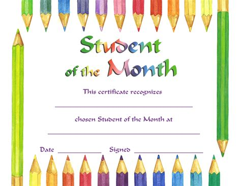 free student of the month certificate templates certificate template category page 17 efoza