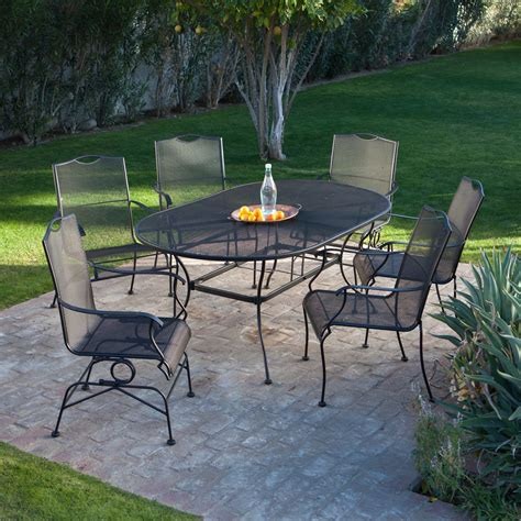 woodard stanton wrought iron dining set seats 6 patio