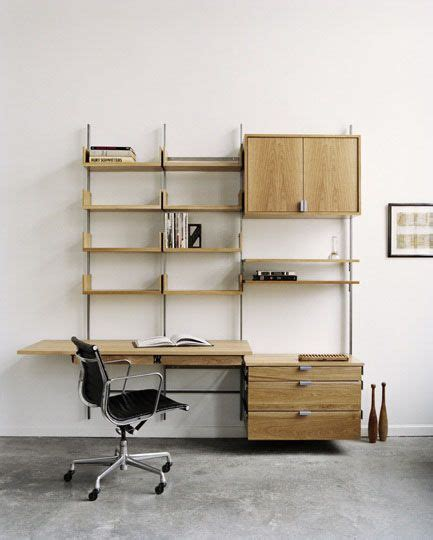 the natural adjustable shelving and metal furniture on