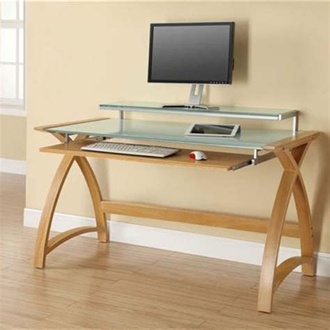 white computer desk with glass top cohen curve computer desk large in white glass top and oak