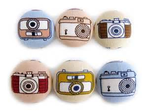 Large Upholstery Buttons Vintage Cameras Fabric Covered Buttons 6 Large By
