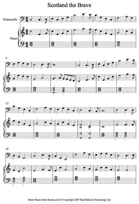 Scotland The Brave scotland the brave sheet for cello 8notes
