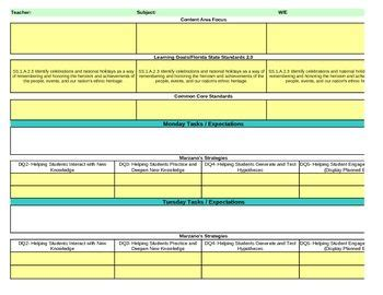 lesson plan template marzano strategies interactive first grade social studies lesson plan