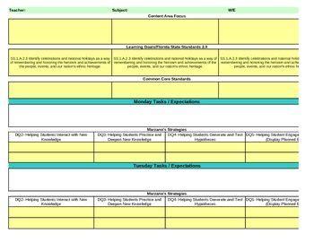 marzano lesson plan template interactive grade social studies lesson plan