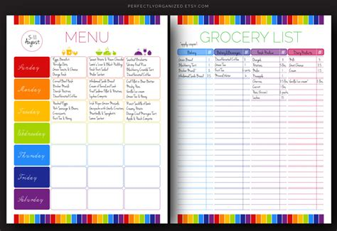 menu planner with grocery list template printable weekly meal planner best sles templates