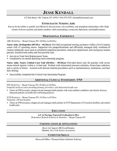 Nursing Assistant Certified Resume Resume Exles No Experience Related To Certified Nursing Assistant Resume Sle No