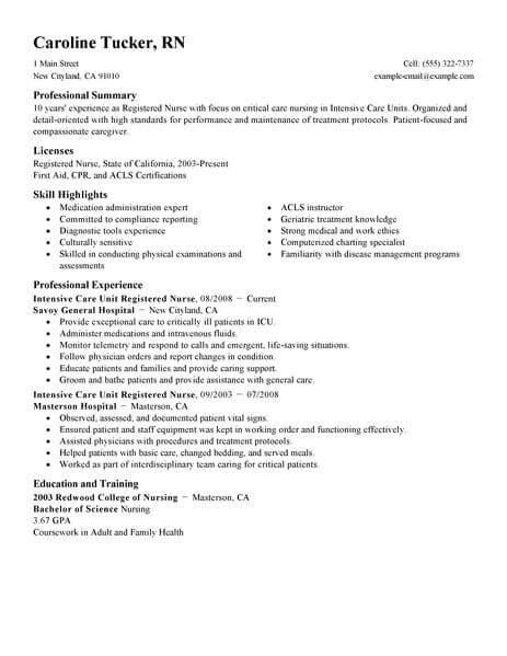 Icu Nurse Resume Sample Neuro Megakravmaga Com