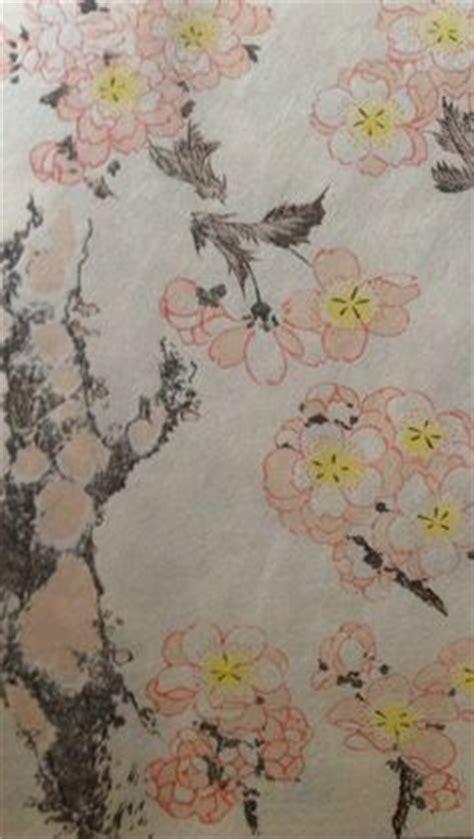 cherry blossom grasses moon and plum blossom painting hokusai plum blossom and the moon blossom pinterest