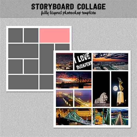 Storyboard Photo Collage Template Photoshop Template 12x12 Collage Template