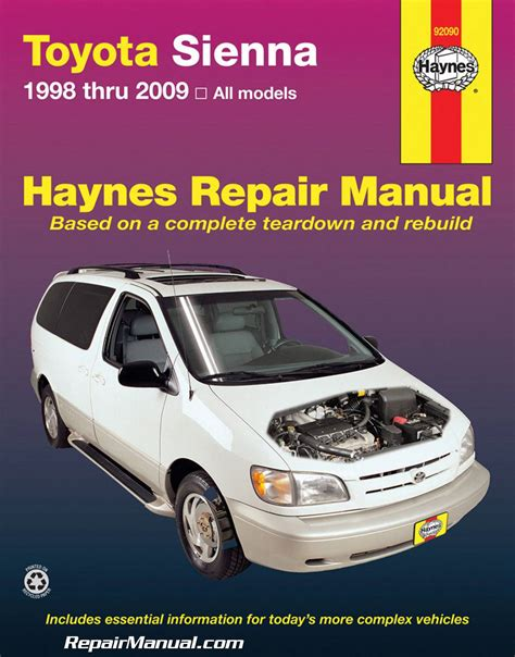 vehicle repair manual 1998 toyota sienna auto manual haynes toyota sienna 1998 2009 auto repair manual