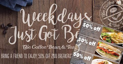 Coffee Bean Gift Card Singapore - coffee bean tea leaf coupon deals save 50 off the second breakfast set