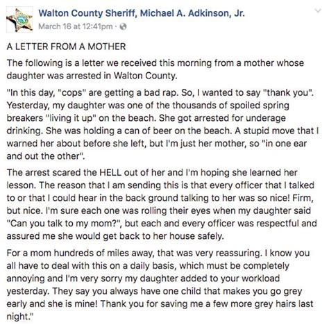 thank you letter to my daughters thanks cops after s arrest