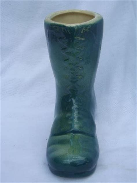 Boot Flower Vase by Green Glazed Yellow Ware Pottery Boot Flower Planter