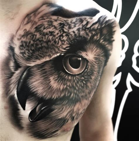 owl portrait chest piece best tattoo design ideas