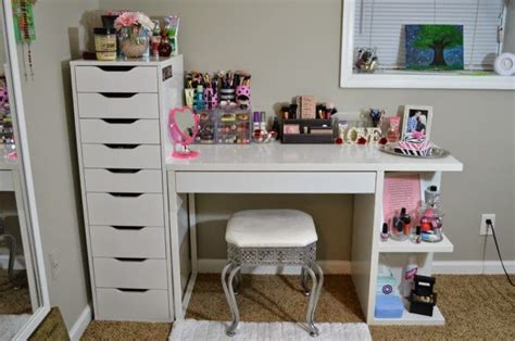 my vanity and makeup storage ikea alex 9 and micke desk