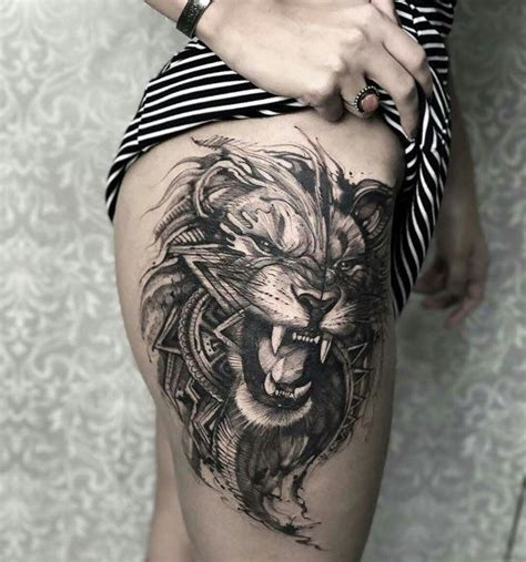 lion tattoo on thigh 20 awesome exles of animal ideas awesome