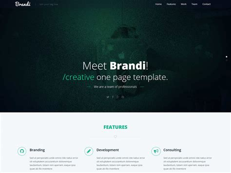 one page html5 template free brandi free one page html5 business template