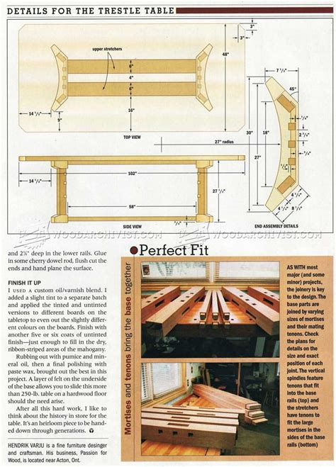 trestle table plans woodarchivist