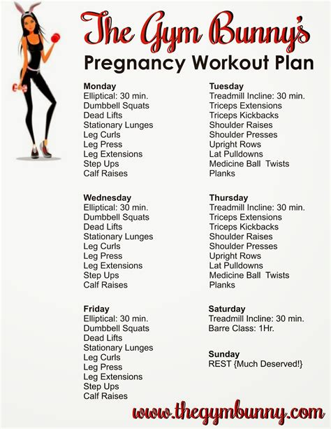 the bunny pregnancy weekly workout plan