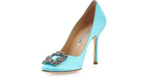 Pantofel Manolo Blahnik Satin lyst manolo blahnik hangisi satin in blue