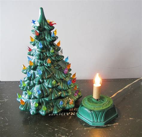 vintage ceramic light up christmas tree with birds