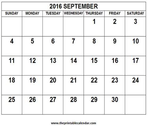 September Kalender 2016 Sept 2016 Calendar Printable Calendar Template 2016