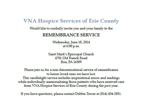 Memorial Service Invitation Letter Erie Vna Vna Of Erie County Hospice Memorial Service June 18th 2014