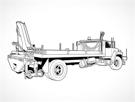 coloring pages bucket truck free vector flatbed truck with boom crane vector free