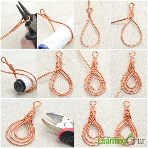 Photo Tutorial on Wire Wrapping Orange Red Pipa Knot Earrings   Pandahall.com