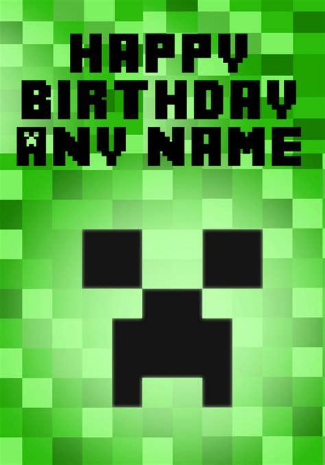 Minecraft Creeper  Ee  Birthday Ee   Card