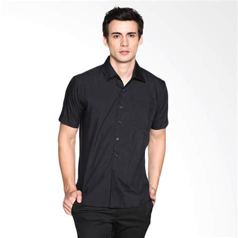 Polo Shirt Pria Polos Pendek Hitam jual vm kemeja polos pendek slimfit hitam harga