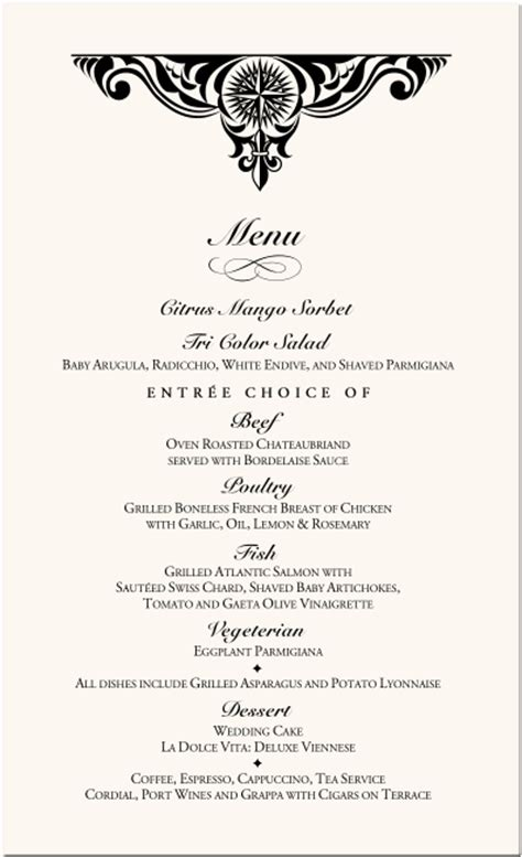 menu card templates for wedding reception 6 fancy menu template procedure template sle