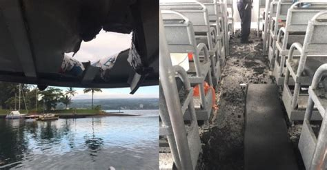 lava boat tour accident lava bomb from hawaii volcano hits boat injuring 23