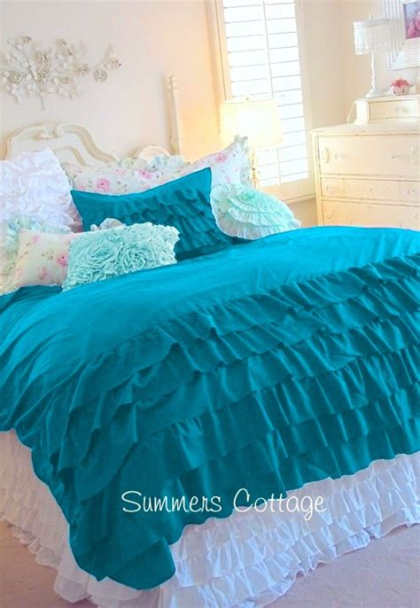 teal ruffle bedding aqua teal turquoise ruffled duvet comforter cover set