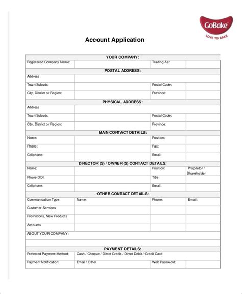 account application form template word application template 10 free word pdf documents