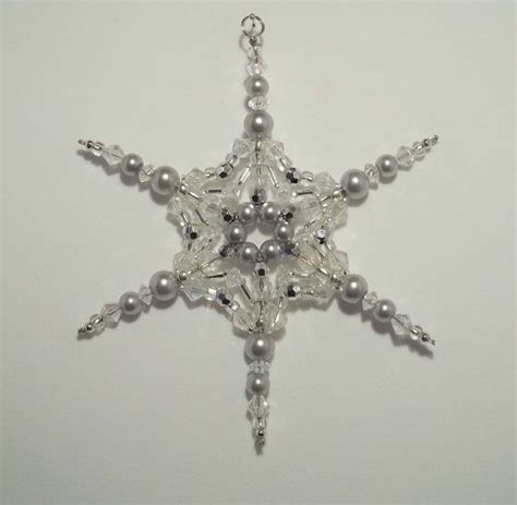 beaded snowflake ornament beaded snowflake ornament silver pearl and clear ab