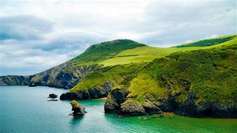 meadow coast cliff bay nature landscape  wallpaper
