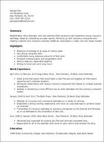 Cost Estimator Sle Resume by Professional Shop Estimator Templates To Showcase Your Talent Myperfectresume