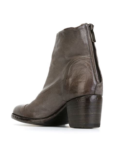 alberto fasciani chunky heel ankle boots in gray lyst