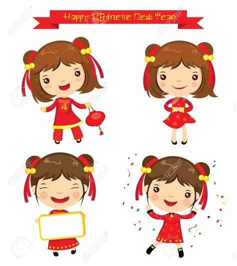 new year kid vector asian clipart kid pencil and in color asian