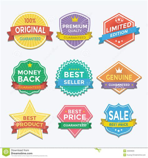 promotion color flat color badges and labels promotion design stock vector