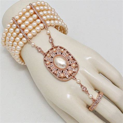 great gatsby chain bracelet 1920 s flapper great gatsby inspired rose gold peach big