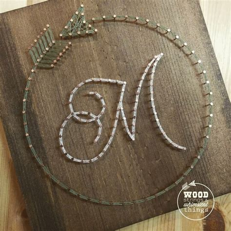 Wood And String - circle arrow initial string by ramblinstrings on etsy