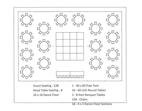 table layout 40x60 pole tent round table dance floor seating