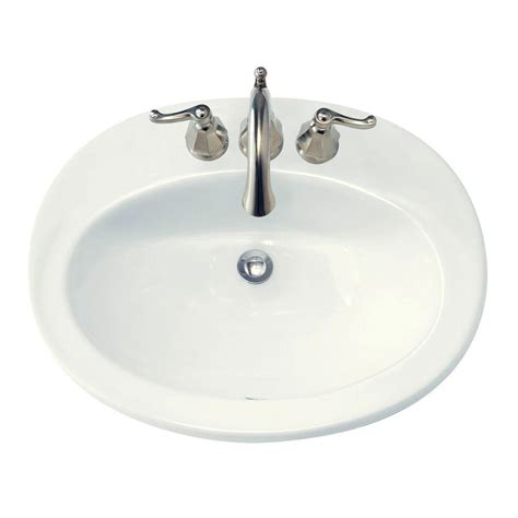 American Standard Piazza Self Rimming Bathroom Sink in White 0478.403.020 The Home Depot