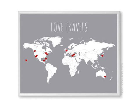 Large World Map Wall Sticker world travel map diy kit includes red heart stickers